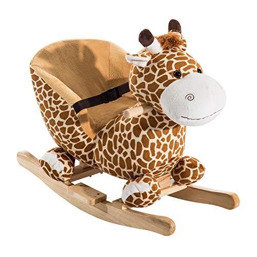 homcom Cavallo a Dondolo Giraffa per Bambini Legno 60 x 33 x 45cm
