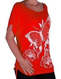 Eyecatch - Damen Large Schmetterlings-Motiv geraffte Kurzarm Top Übergrößen
