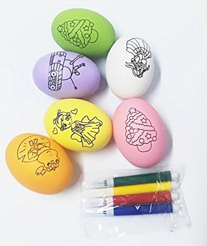 Takestop® set 6 pezzi uova uove in plastica disegnare con pennarelli colori colorate ovetti pasqua addobbi decorazioni decoupage