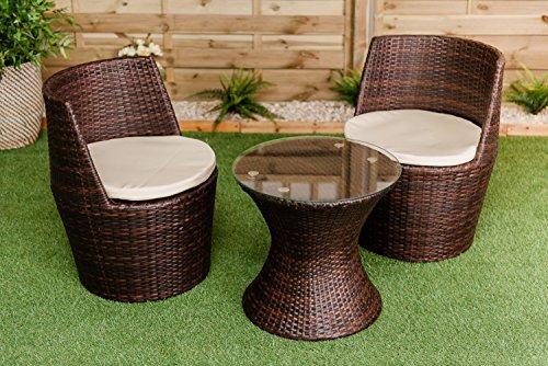 Verona 3 Piece Rattan Garden Patio Furniture Vase Dining Eating Picnic Table Set 2 Chair Stackable