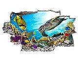 tekkdesigns A216Schildkröte Aquarium Fish Ocean Sea Coral Wand Aufkleber 3D Poster Art Aufkleber Viny Kids Schlafzimmer Baby Kinderzimmer Cool Wohnzimmer Hall Jungen Mädchen (Medium (52x 30cm))