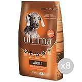 Set 8 ULTIMA Perro Adulto 211 Croqueta Pollo Arroz De Alimentos Para Perros 1,5 Kg