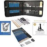 Tower Art Supplies 34Stück graphit Zeichnung Bleistifte, anthrazit und Sketch Set, professionellen Zeichenstift-Set mit Sketch Pad, komplett Art Set mit Tragetasche, in Geschenkverpackung
