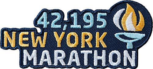 2 x New York Marathon Abzeichen gestickt / 42.195 Marathonlauf Lauftraining Läufer / Aufnäher Aufbügler Sticker Wappen Patch / Training Joggen Jogging Running Fitness Ernährung Laufbuch Buch