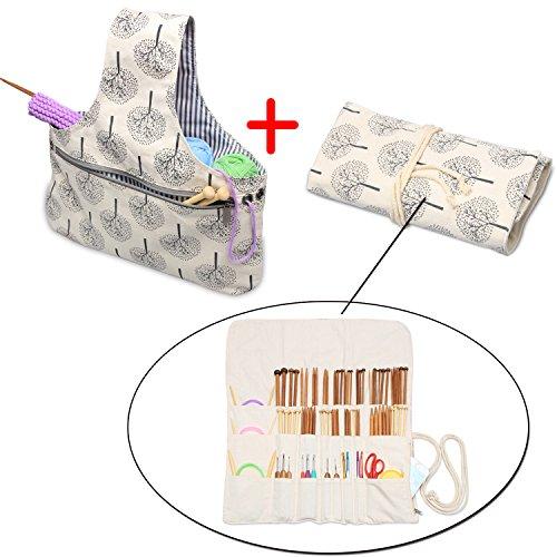 Teamoy 2 Stück/Set tragbar Aufbewarungstasche für wolle und Strumpfstricknadeln Tasche (nicht mehr als 14 Zoll/ 35.5cm) für häkeln, perfekte Größe für stricken unterwegs, (Kein Zubehör im Lieferumfang enthalten), Tree
