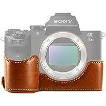 First2savvv XJPT-A7II-D09 marrón Funda Cámara cuero de la PU cámara digital bolsa caso cubierta para Sony Alpha A7 II . A7 Mark 2 . A7R Mark 2