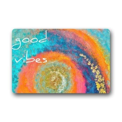 GTdgstdscFantastische Fußmatte, bunt, Trippy Art mit lustigem Spruch Good Vibe Fußmatte, für drinnen und draußen, Eingangstür/Badezimmerteppich, 40,6 cm x 61 cm (Trippy Videos)