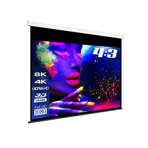 "eSmart Germany MIROLO Rollo-Leinwand [Größenauswahl] 234 x 176 cm (115"") 4:3 | Vollmaskierung | Heimkino Beamer Projektionsleinwand Rollo Leinwand LCD LED"