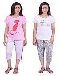 Limeberry Nightwear Set with Pack of Two Capri Pant & T-Shirt