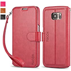 TUCCH Samsung S7 Multi-functional Premium PU Leather Flip Case (Wine)