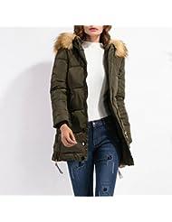 ZQQ Damas invierno tamaño del largo suelto de cuello acolchado de piel de estilo europeo abrigo de lana con capucha Zip , army green , xxl