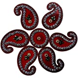 SBD Handmade Elegantly Designed Red Rangoli - With Round Shaped Base And Keri Shape Design Decorated With Multicolored Stones - 7 Pieces