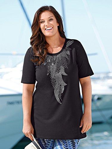 Damen Shirt in figurgünstiger Longform by m. collection Schwarz