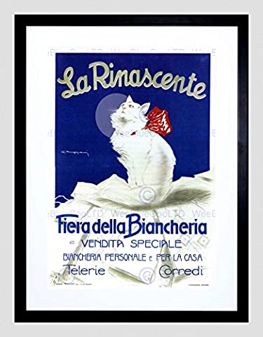 ADVERT CLOTHING BEAUTY LA RINASCENTE ITALY MILAN CAT FRAMED ART PRINT B12X4151