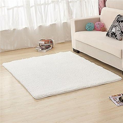 qwer Minimalistisch modern Teppich Farbe dick Wohnzimmer/Schlafzimmer Bett Tisch decken rechteckigen Bereich floating Teppich ,160 250cm x 105m, weiß