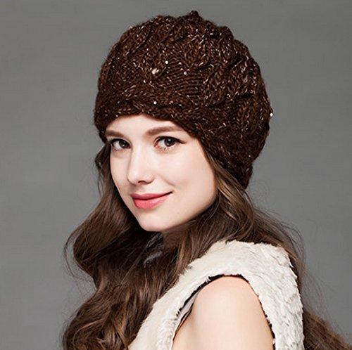 Chapeau Femmes Hiver Plus Velours Handmade Tissé Chapeau Gros Chapeau Chaud Chapeau ( couleur : 1# ) 1#