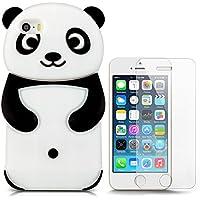 Hcheg funda de silicona diseño negro panda para Apple iPhone 5/5S - Un diseño elegante y una protección óptima +1XProtector de pantalla