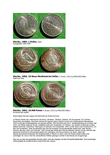 Kalenderblatt zum Jahr 1984: Zur Geschichte Mexikos (1 Dollar Mexikos von 1984 sowie 10.000 Pesos von 1992 und 10 neue Dollars von 1994 dieses Landes) (Peso Mexiko)
