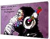 ARTSPRINTS DJ Affe Print Banksy Bild auf gerahmter Leinwand Kunstdruck-Dekoration, 12 x 8inch -18mm depth