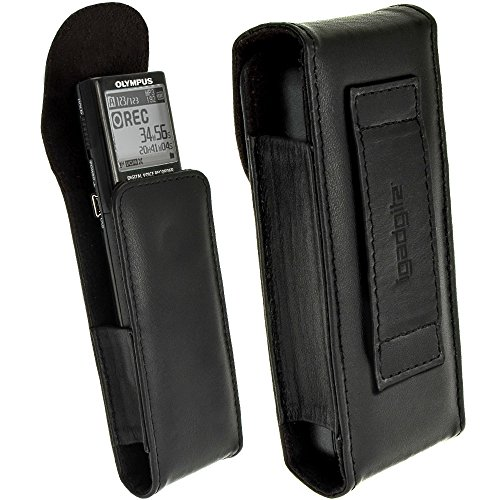 igadgitz Schwarz Echte Leder Tasche Schutzhülle Case Cover für Olympus VN-713PC, VN-732PC & VN-8600PC Digitaler Voice Recorder