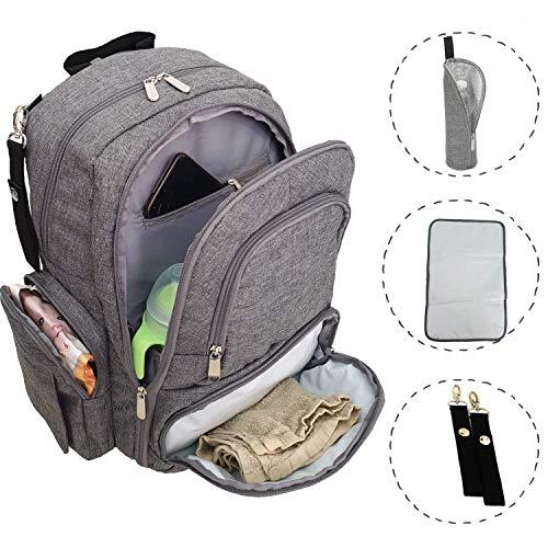Zaino Mamma multifunzione 6 tasche termiche fasciatoio portatile ganci passeggino porta pannolini tasca porta salviette resistente all'acqua grigio
