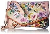 Anuschka handbemalte Ledertasche, Schultertasche für Damen, Geschenk für Frauen, Handgefertigte Taschen, Kupplung mit Handschlaufe und Schulterriemen (Blumen, Japanese Garden 607 JPG)