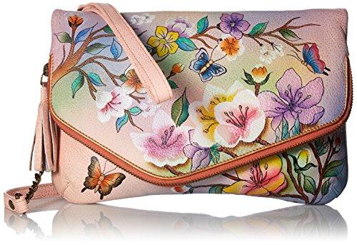 Anuschka handbemalte Ledertasche, Schultertasche für Damen, Geschenk für Frauen, Handgefertigte Taschen, Kupplung mit Handschlaufe und Schulterriemen (Blumen, Japanese Garden 607 JPG) (Anuschka Umhängetasche)