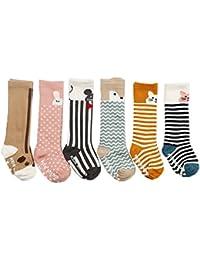 JT-Amigo Pack de 6 Pares Calcetines Largos para Bebé Niños Niñas