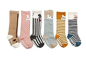 LACOFIA 6 Paar Baby M/ädchen Kniehohe Lange Socken Kleinkind Prinzessin Baumwolle Kniestr/ümpfe