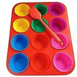 Premium Silikon Muffinform Set Red Colorful für 24 Stück: 12er-Muffinform + 12 Stand Alone Muffinförmchen + 1 Amerikanisches Muffinrezept + 1 Silikon Teigschaber mit Edelstahlkern Silikon Muffins Backform, weihnachten muffinform, Muffin Form, Muffin-Backformen, Muffinblech, Muffin Backform Silikon, Backset Silikon, High-Quality Silicone Muffin Cup (Red Colorful)