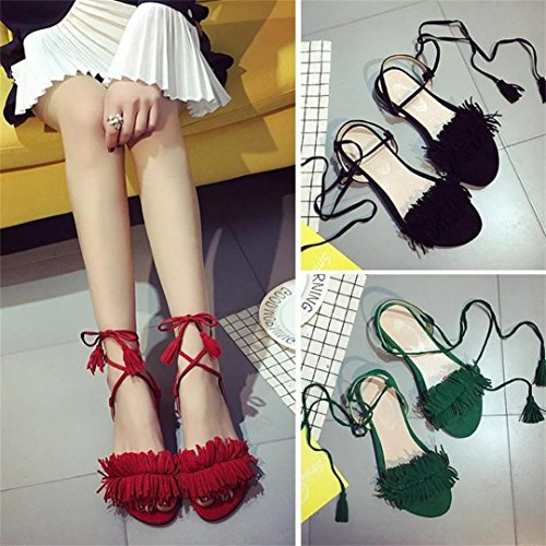 FALAIDUO Women Fashion Tassel Flat Heel Anti Skidding Beach Shoes Summer Lace-up Strap Sandals Slipper