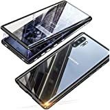 for Samsung Galaxy Note 10+/Note 10 Plus Case Magnetic Adsorption Metal Bumper Frame with Front and Back Transparent Tempered