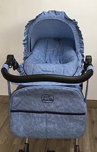 Colchoneta para silla de paseo universal vaquero mas capota y bolso. Funda silla de coche. Mundi Bebé...