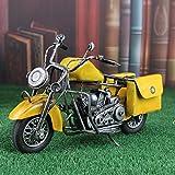 LIJUN Retro Tin Vintage Auto Motorrad Modell Harley Motorcycle Schaufenster Dekorative Desktop-Dekoration,Yellow