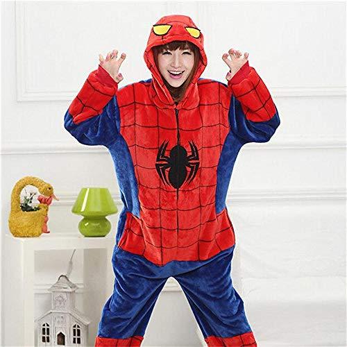 Zyoyotoy Hyococ Pyjama en Flanelle pour Adulte et Adolescent, Coton, Spiderman, Taille L