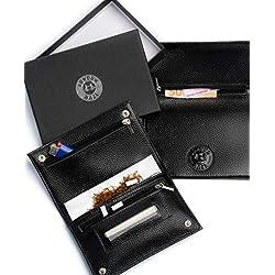 Blague à tabac en cuir noir avec logo London Haze en relief - Pochette en Cuir pour Cigarette, Papier à Rouler, Porte-Filtre. Cadeau pour fumeur. Black leather tobacco pouch