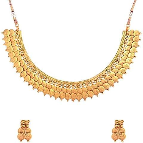 El joyero para mujer Twin Lakshmi chapado en oro para monedas templo juego de diseño de madera envejecida pendientes o collares
