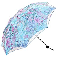 ManKn Folding Travel Lace Umbrella Compact Windproof Double Layer Sunblock with Black Anti-UV Coating UPF 50+ for Ladies