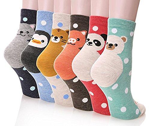 Frauen Socken Spaß (Damen Socken 3-6 Pack von Happytree, Spaß und Coole Charakter entworfen Baumwolle gemischt Geschenkidee für Cat und Hund Liebhaber.)
