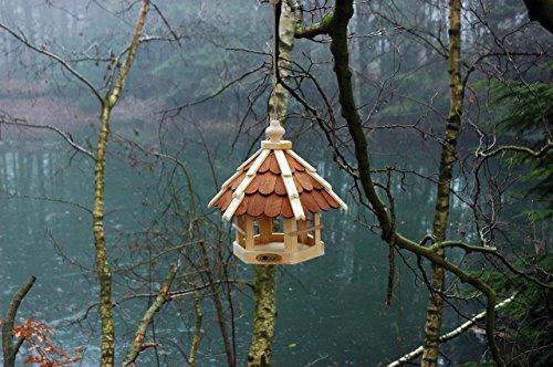 dobar 90638e Vogelhaus aus Holz (Kiefer) für Garten, Balkon, mit dunklen Holzschindeln, Kordel zum Aufhängen – Vogelhäuschen Vogel-Futterhaus - 3