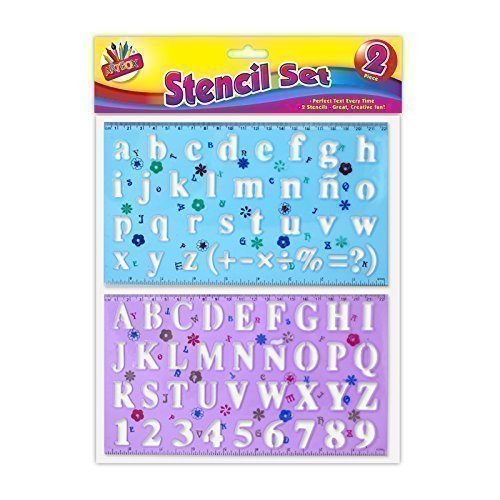 Preisvergleich Produktbild 2 x Stencil Set Letters Alphabet Craft Number Lettering Capitals Lower case by The Home Fusion Company