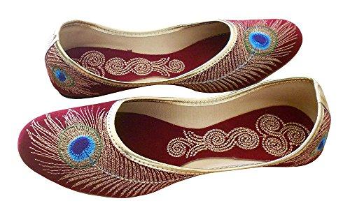 KALRA Creations Damen Traditionelle indische Samt Party Schuhe Rot