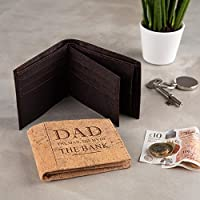 """Personalised Cork Wallet gifts for Dad -""""The Man, the Myth, the Bank"""" - Unique Birthday gifts for him - Available in Natural and Dark cork - Dad Engraved Wallet - Personalised Fathers Day gift"""