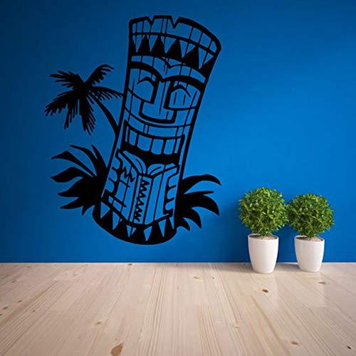 LovelyHomeWJ Bar Logotipo decoración Tatuajes de Pared Sala de Estar decoración para el hogar Arte a Prueba de Agua Etiqueta de Papel Tapiz Totem Isla Mascara Hawaiana Cultura 56x73 cm