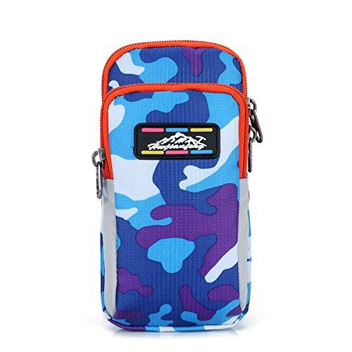 Zhudj mobile phone set _ braccio corsa tipo braccio mobile phone bag borsa legato braccio braccio manica camouflage braccio, Camouflage blue powder Small purple blue camouflage