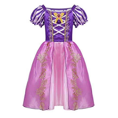 Tiaobug Mädchen Prinzessin Kostüm Kleider Märchen Cosplay Glanz Kleid Kurzarm gestreift mit Druck Verkleidung Outfits Halloween Party Festzug gr. 92-134 Violett 128 (Halloween-film Top 10)