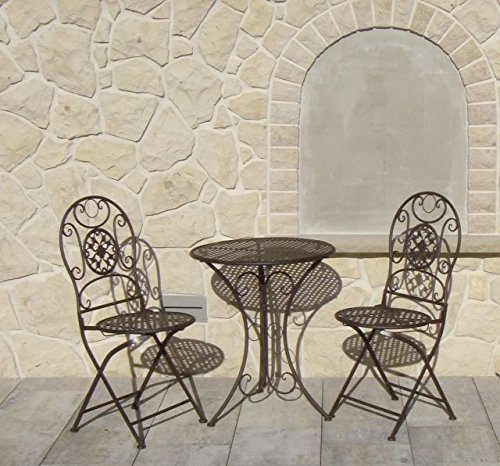 Chaise pliante en métal Set de 2 x Chaise 1 table fer jardin balcon Chaise