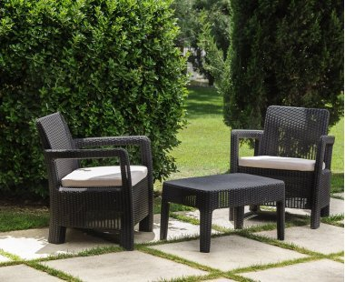VDC Ensemble Balcon : Set de 2 fauteuils + Table 100% Outdoor