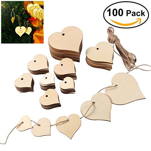 Ultnice Adornos recortados de siluetas del corazón de madera de 10m 4cm 5cm 6cm 8cm 10cm, 100 unidades