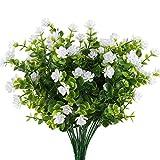 MIHOUNION HUAESIN 4 Pcs plastikblumen eukalyptus künstlich künstliche grünpflanze Blumen Kunststoff unechte Pflanze kunstblumen Busch Weiss für Topf Balkon außen Garten heiratsantrag deko